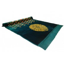 Muslim Prayer Mat Green with multi-coloured dotted pattern