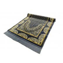 Muslim Prayer Mat & Embossed Grey Whit Gold Prayer Met