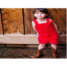 Frill lace red romper