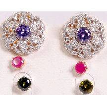 Ladies High Quality Earing With Purple,Black & Pink Stone
