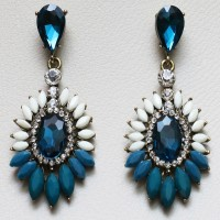 Golden Earrings Blue and White stones