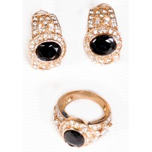 Golden Ring & Earing With Black And Small White Stone