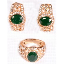 Golden Ring & Earing With Green And Small White Stone