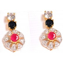 Ladies High Quality Earing With  Pink,Black & White Stone