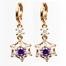 Golden Earrings purple  stones