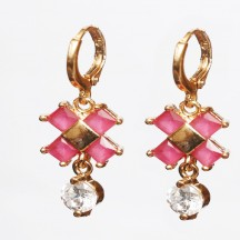 Golden metal Earrings  white and red stones