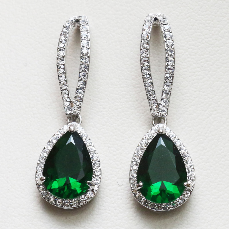 studded green us product stone earrings l